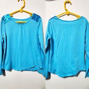 Miss Attitude Girls Blue Sequin Blouse S